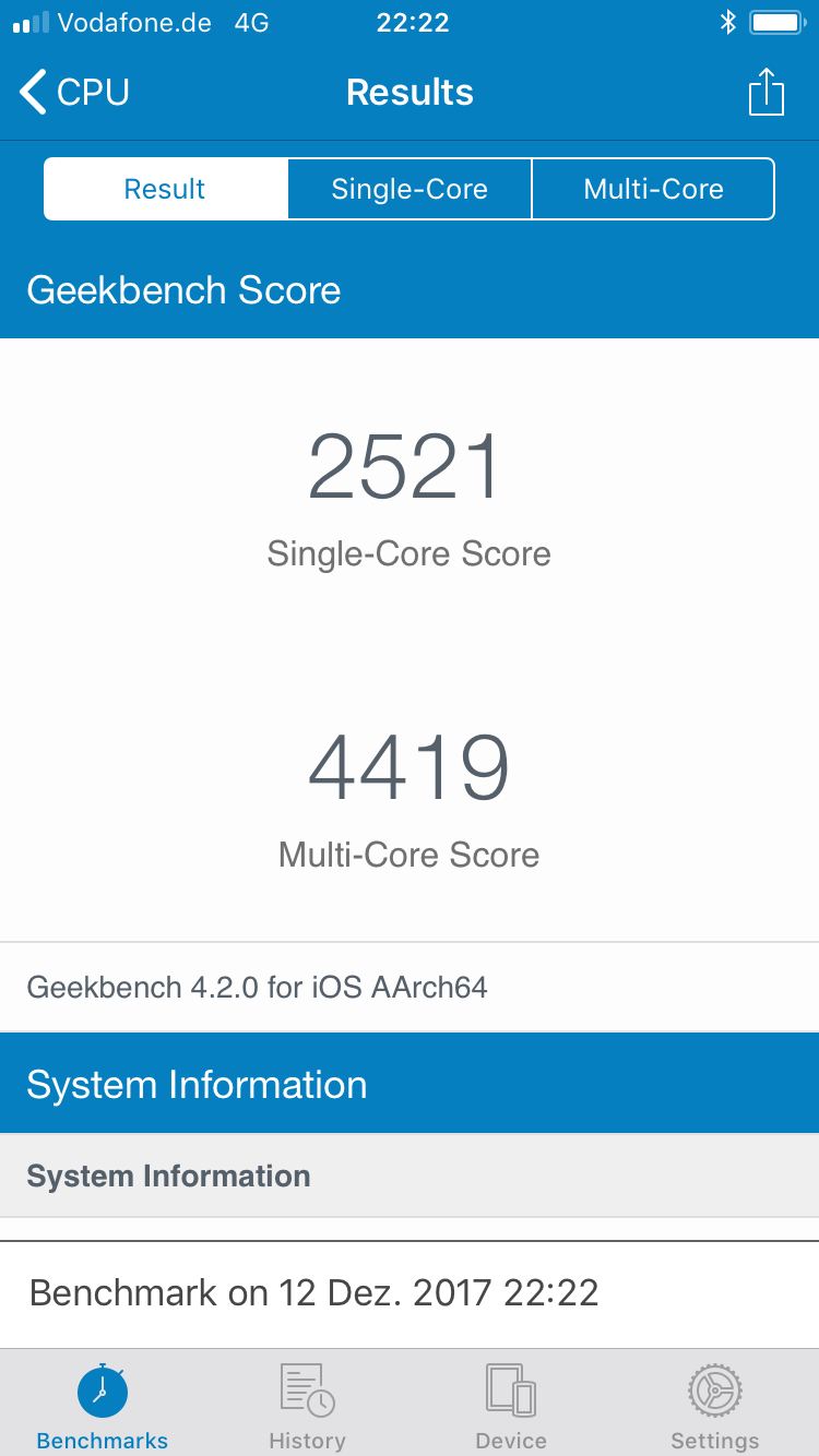iPhone 6s Geek Bench scores after battery replacement