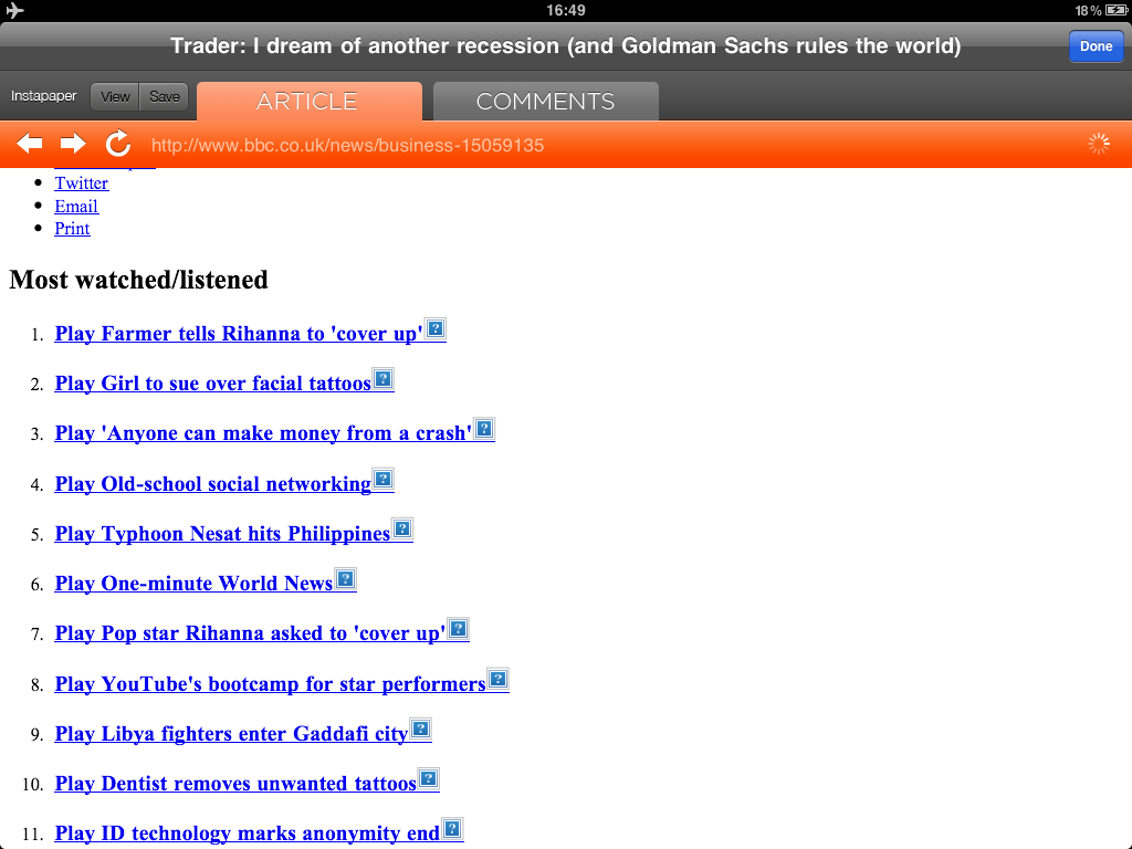 A cached page in Hacker News HD