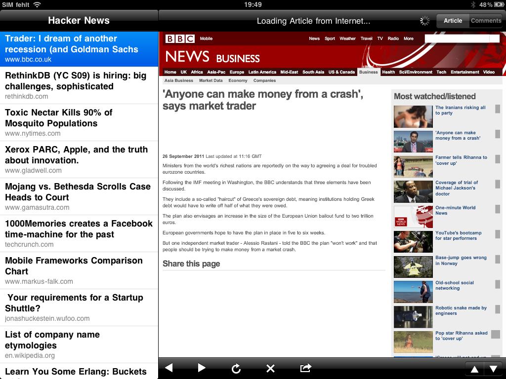 Hacker News for iPad in Landscape