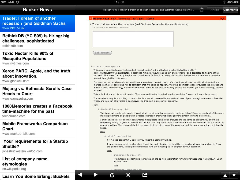 Comments in Hacker News for iPad