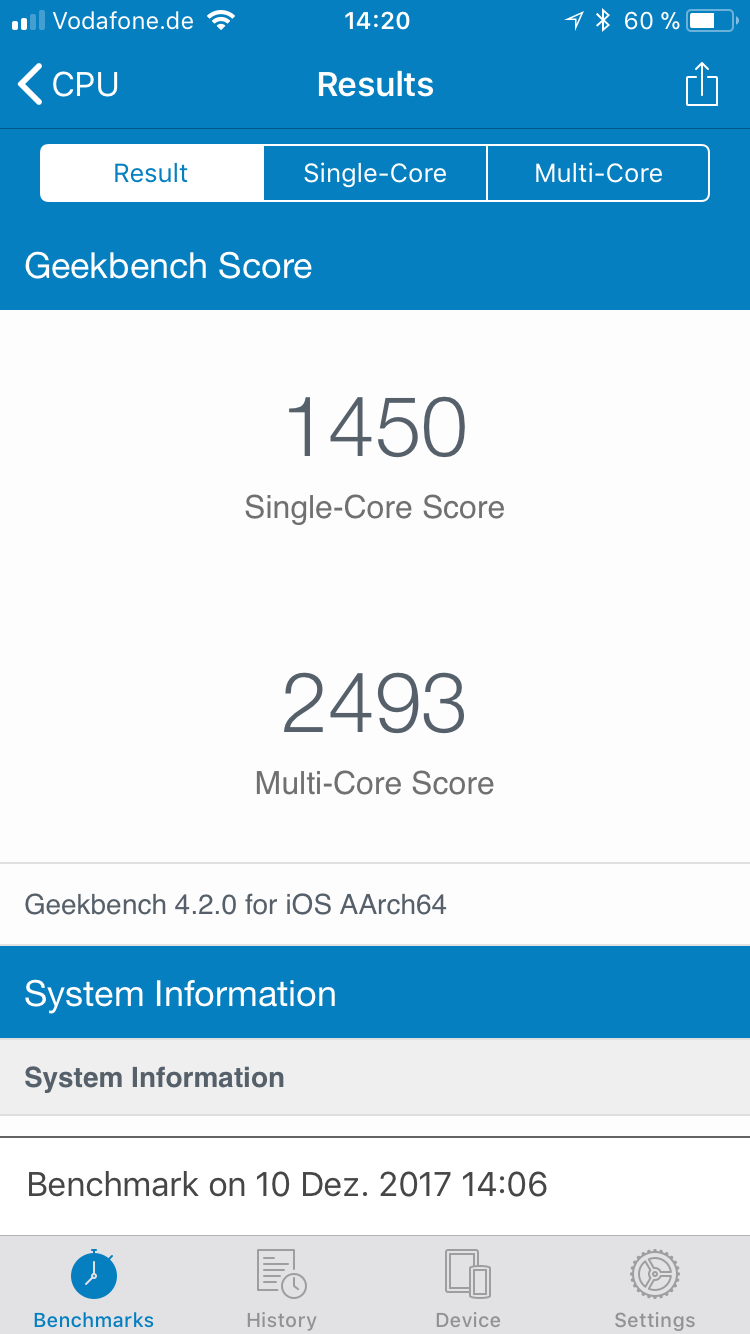 iPhone 6s Geek Bench scores with degraded battery before Reset